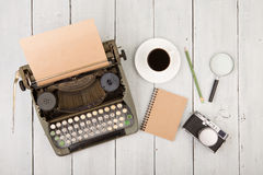 writer's workplace - wooden desk with typewriter Royalty Free Stock Images