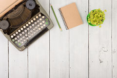 writer's workplace - wooden desk with typewriter Stock Photos