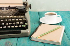writer's workplace - wooden desk with typewriter Royalty Free Stock Photography