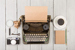 writer's workplace - wooden desk with typewriter Stock Images