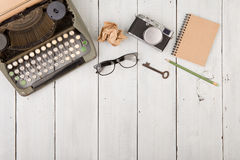 writer's workplace - wooden desk with typewriter Royalty Free Stock Photos