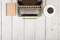 writer's workplace - wooden desk with typewriter Royalty Free Stock Image