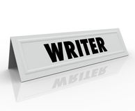 Writer Tent Card Name Guest Speaker Author Reporter Blogger Journalist. Writer word on a name tend card for a guest speaker or panelist who is well-known or vector illustration