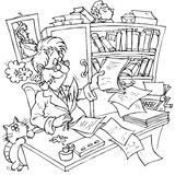 Writer at work. Black and white illustration: he has been hard at work all day, banging out a new story Stock Image