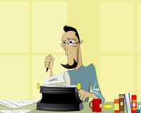 Writer at work illustration Royalty Free Stock Photo