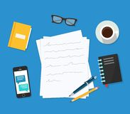 Writer workplace  illustration  on blue background, flat cartoon paper sheets on working table with text, pen and pe. Ncil, top view desktop with writing letter Royalty Free Stock Image