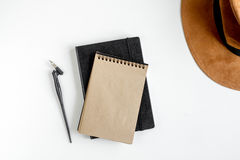 Writer workplace with tools on white background top view Royalty Free Stock Image