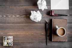 Writer workplace with tools on wooden background top view mockup Royalty Free Stock Photos
