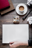 Writer workplace with tools on wooden background top view Royalty Free Stock Images