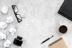 Writer workplace with tools for work on stone table background top view mockup royalty free stock photos