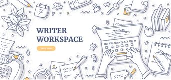 Writer Workspace Doodle Background Concept Stock Photos