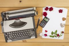 The writer writes a romance novel. A love letter for Valentine's Day. Declaration of love written on paper. Stock Image