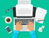 Writer writing on computer paper sheet vector illustration, flat cartoon person editor write electronic book text top. View, laptop with writing letter or stock illustration