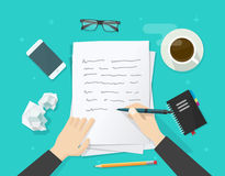 Writer writing on paper sheet, workplace, author desktop, write letter Stock Photo