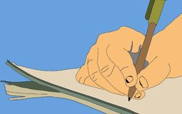 Writer writing stories on paper  illustration. Blue background Royalty Free Stock Images