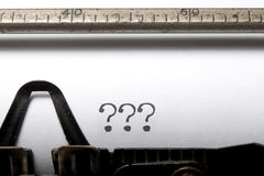 Writers block. Three question marks printed on a typewriter Stock Images