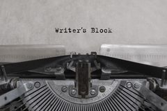 Writers Block typed words. Writers Blok typed words on a vintage typewriter. letters on a piece of paper Royalty Free Stock Photos