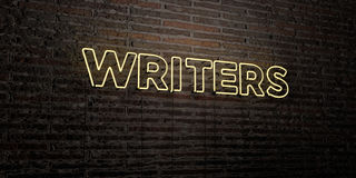 WRITERS -Realistic Neon Sign on Brick Wall background - 3D rendered royalty free stock image. Can be used for online banner ads and direct mailers Stock Photos