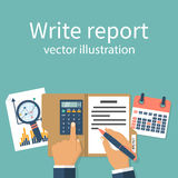 Writes a financial report. Businessman writes a financial report, concept. Research, data analysis. Audit, market stats calculate. Paperwork, sheets in folder Stock Photography
