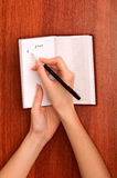 Writes notes Royalty Free Stock Photo