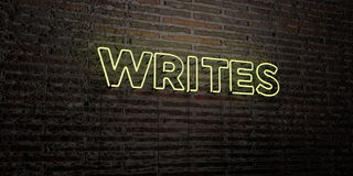 WRITES -Realistic Neon Sign on Brick Wall background - 3D rendered royalty free stock image Royalty Free Stock Photo
