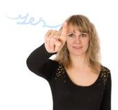 Writes yes finger woman Royalty Free Stock Photo