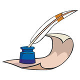Writing. Old style writing paper and pen Vector Illustration