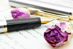 Writing. Ink pen lying on the letter Royalty Free Stock Photo