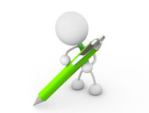 Writing. 3d render illustration.Holding a pen Royalty Free Stock Image