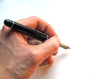 Writing. Hand Writing, signature, signing, fountain pen Stock Images