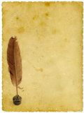 Writing. Quill in bottle of ink on old paper background Stock Photography