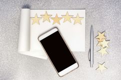 Writing A 5 Stars Review Concept. Royalty Free Stock Images