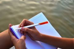 Free Writing A Personal Diary. Writing Memoirs And Poems Stock Photo - 161052010