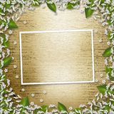Writing abstract background with frame floral. Beautiful bouque stock illustration