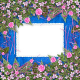 Writing abstract background with frame and floral. Beautiful bouquet vector illustration