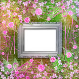 Writing abstract background with paper and floral beautiful bouq. Uet royalty free illustration