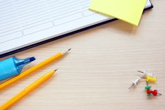 Writing accessories and diary Royalty Free Stock Photos