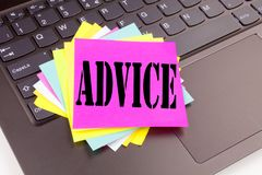 Writing Advice text made in the office close-up on laptop computer keyboard. Business concept for Suggestion guidance concept Work. Shop on the black background Royalty Free Stock Photography
