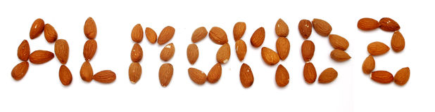 Writing with almonds Royalty Free Stock Photo