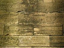 Writing - Ancient Graffiti. Ancient Graffiti - Hambye Abbey, France Stock Photo