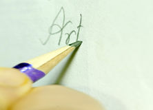 Writing on a Paper by a pencil Royalty Free Stock Photos