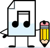 Writing Audio File. A cartoon illustration of an audio file with a pencil Stock Images