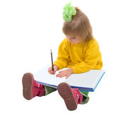 Writing Baby Girl. Royalty Free Stock Images