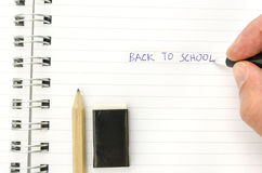 Writing back to school Stock Photo