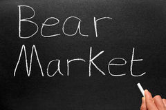 Writing Bear Market. Writing the stock market phrase bear market on a blackboard royalty free stock images