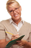 Writing Beautiful Woman with Pencil and Folder Royalty Free Stock Images