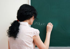 Writing at the blackboard Royalty Free Stock Photos