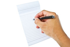 Writing on blank notepad Royalty Free Stock Photos
