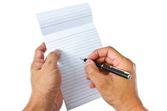 Writing on blank notepad Royalty Free Stock Photo