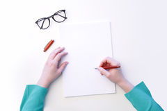 Writing on blank paper Stock Photography